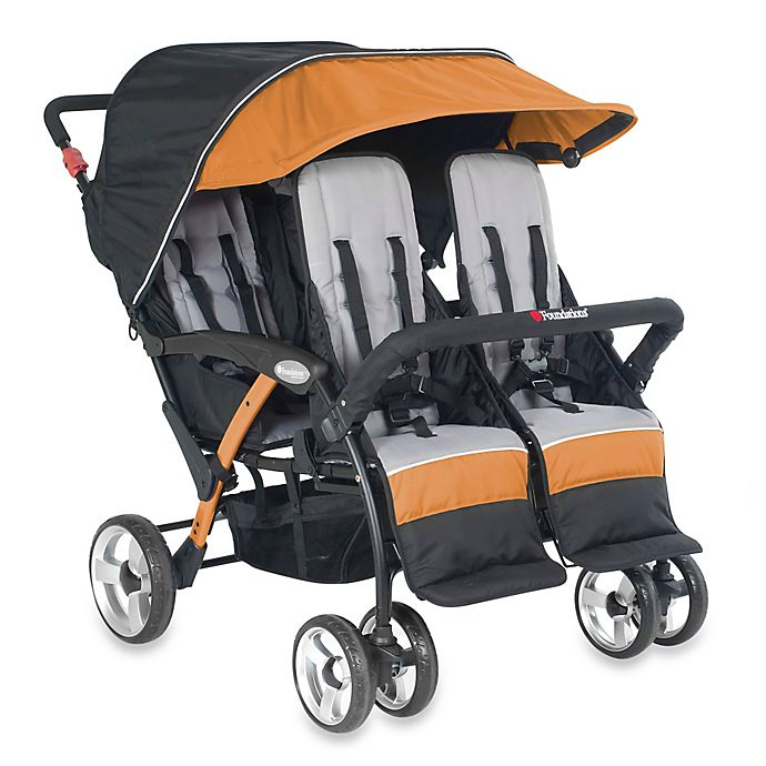 Alternate image 1 for Foundations® Quad Sport™ Splash of Color 4-Passenger Stroller in Orange