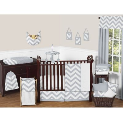 Sweet Jojo Designs Chevron Crib Bedding Collection In Grey White Baby