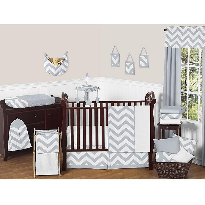 Sweet Jojo Designs Chevron Crib Bedding Collection In Grey White