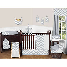 Sweet Jojo Designs Chevron Crib Bedding Collection in Grey/White