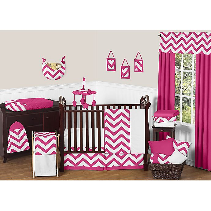 Alternate image 1 for Sweet Jojo Designs Chevron Crib Bedding Collection in Pink and White