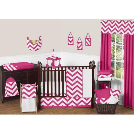 Sweet Jojo Designs Chevron Crib Bedding Collection In Pink