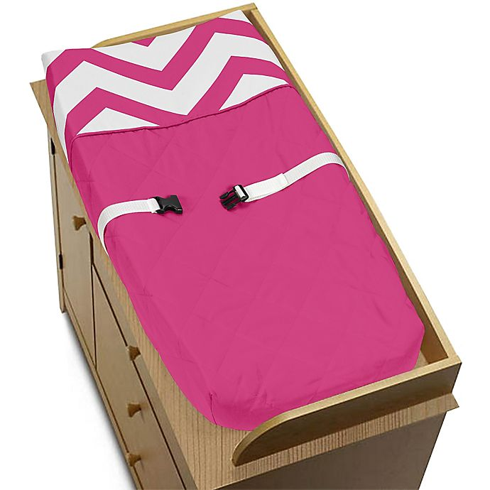 Alternate image 1 for Sweet Jojo Designs Chevron Changing Pad Cover in Pink and White