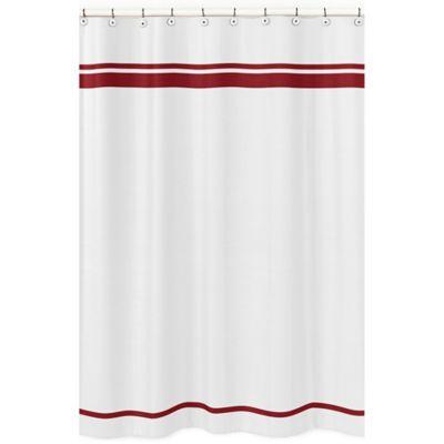 Sweet Jojo Designs Hotel Shower Curtain In White Red