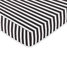 Sweet Jojo Designs Paris Fitted Crib Sheet in Black and White Stripe