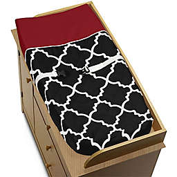 Sweet Jojo Designs Trellis Changing Pad Cover in Red/Black