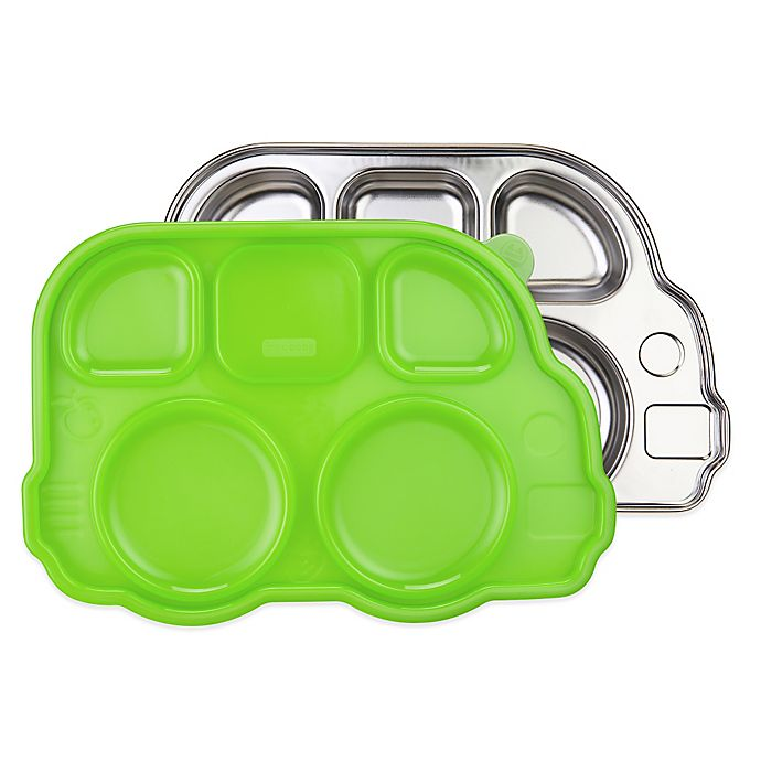Alternate image 1 for Innobaby Din Din Smart™ Stainless Bus Platter with Green Lid