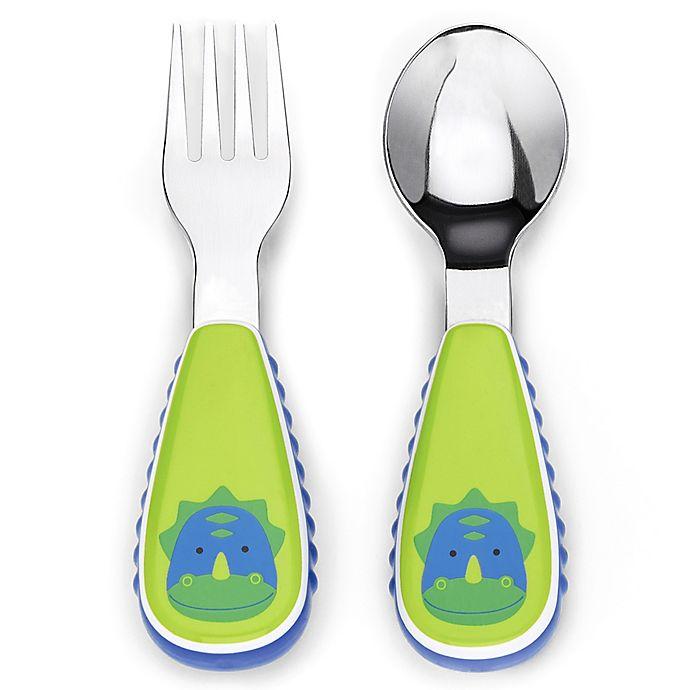Alternate image 1 for SKIP*HOP® Zootensils Little Kid Fork & Spoon in Dino