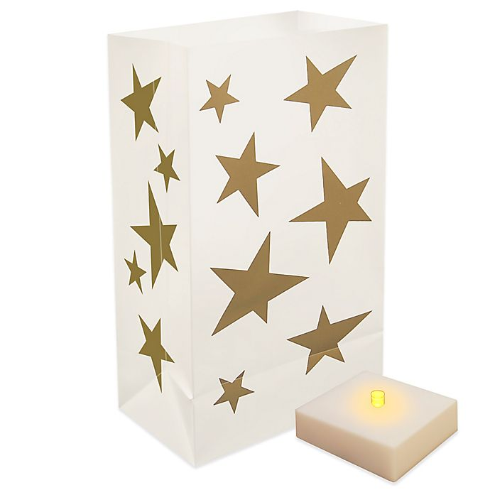 Alternate image 1 for Battery Operated LumaLite Luminaria Kit with Gold Star Bags with Timer (6 Count)