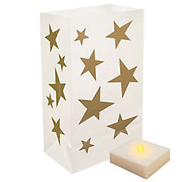 Battery Operated LumaLite Luminaria Kit with Gold Star Bags with Timer (6 Count)