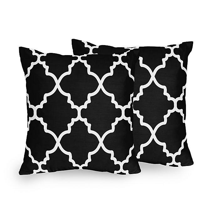 Sweet Jojo Designs Trellis Square Throw Pillows in Black and White (Set of  2)
