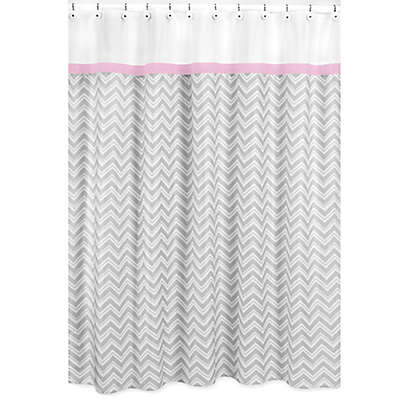 Sweet Jojo Designs Zigzag Shower Curtain in Pink/Grey