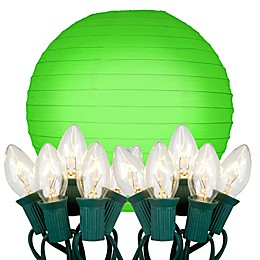 Electric String Lights with 10-Inch Paper Lanterns (Set of 10)