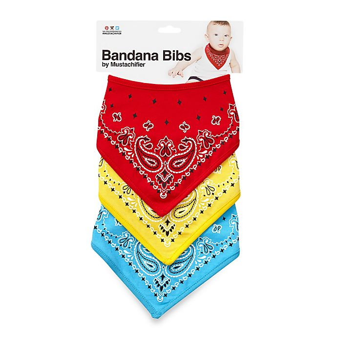 Alternate image 1 for Mustachifier™ Bandana Bibs in Red/Yellow/Blue (Set of 3)