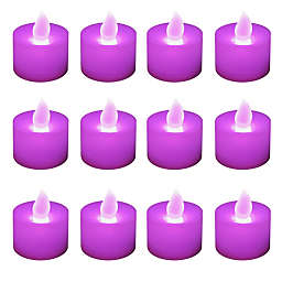 LED Battery Operated Tealight Candles in Purple  (12 Count)