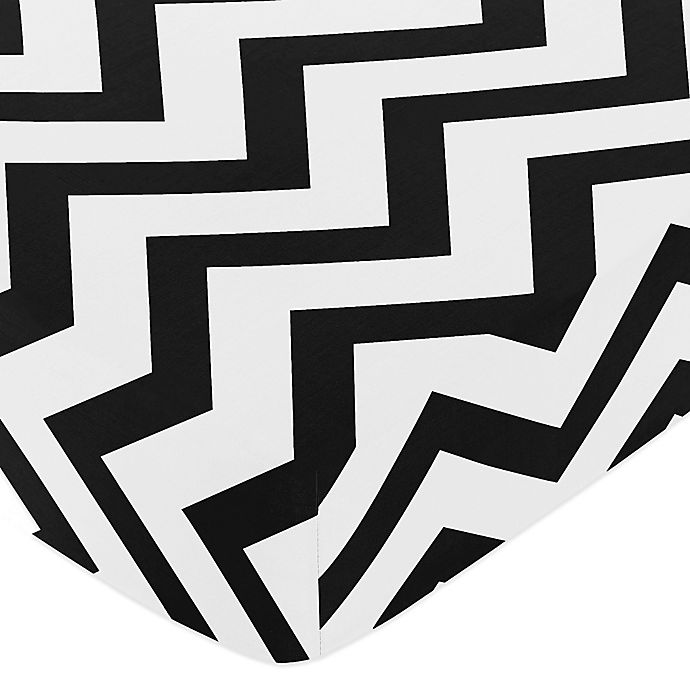 Alternate image 1 for Sweet Jojo Designs Chevron Fitted Crib Sheet in Black/White