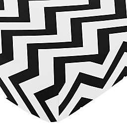Sweet Jojo Designs® Chevron Fitted Crib Sheet in Black/White