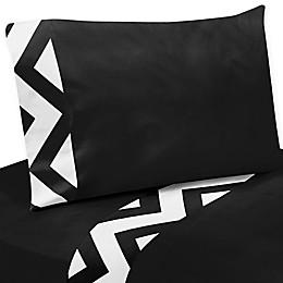 Sweet Jojo Designs® Chevron Sheet Set in Black and White
