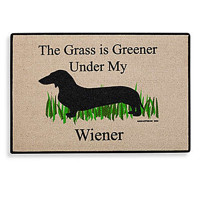 """The Grass Is Greener Under My Wiener"" Door Mat"