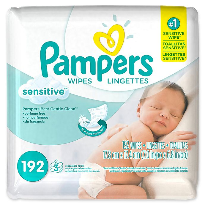 Alternate image 1 for Pampers® Sensitive® 192-Count Baby Wipes Refill Pack