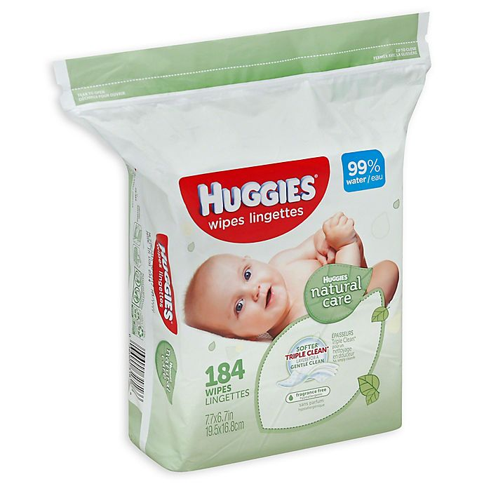 Alternate image 1 for Huggies® Natural Care 184-Count Unscented Baby Wipes
