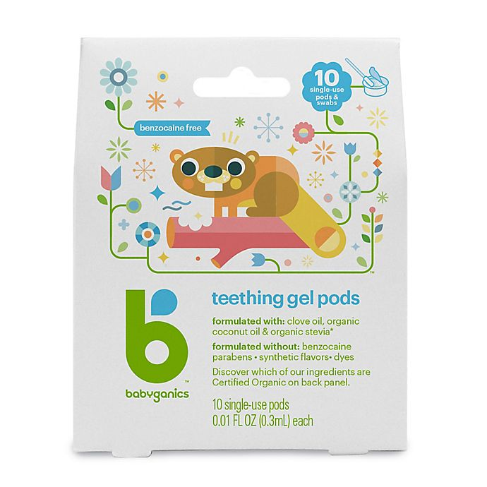 Alternate image 1 for Babyganics® Benzocaine-Free Gel Teething Pods, 10 Single-Use Pods with Cotton Applicators
