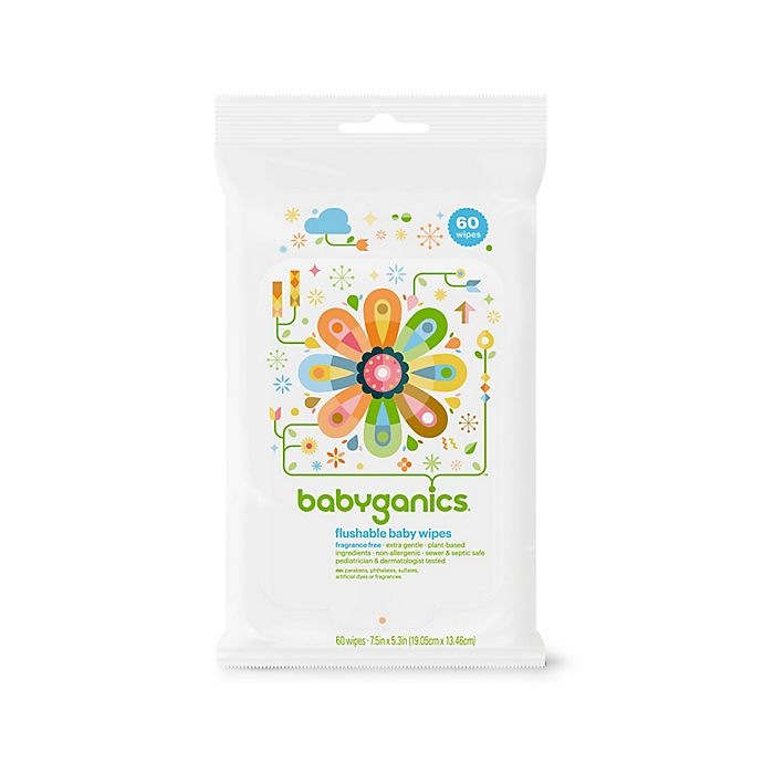 Babyganics 174 Thick N Kleen 60 Count Flushable Wipes