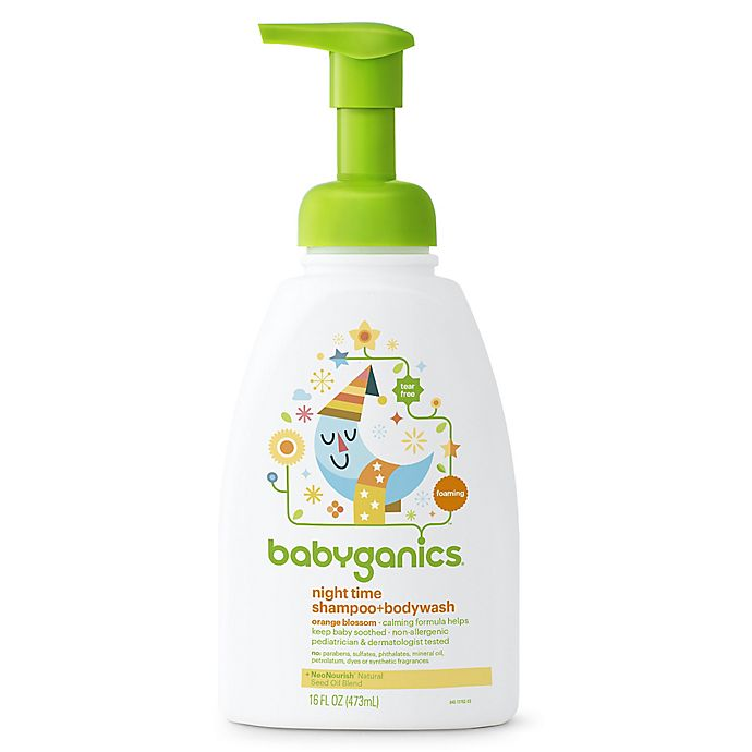 Alternate image 1 for Babyganics® 16 oz. Night Time Shampoo + Body Wash in Orange Blossom