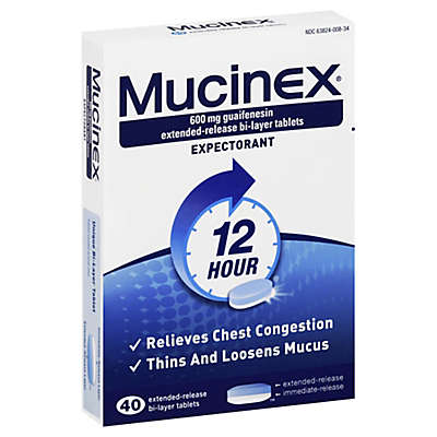 Mucinex® 12 Hour Expectorant 40-Count 600 mg Extended Release Bi-Layer Tablets