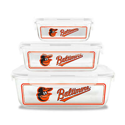 MLB Baltimore Orioles 6-Piece Glass Food Container Set