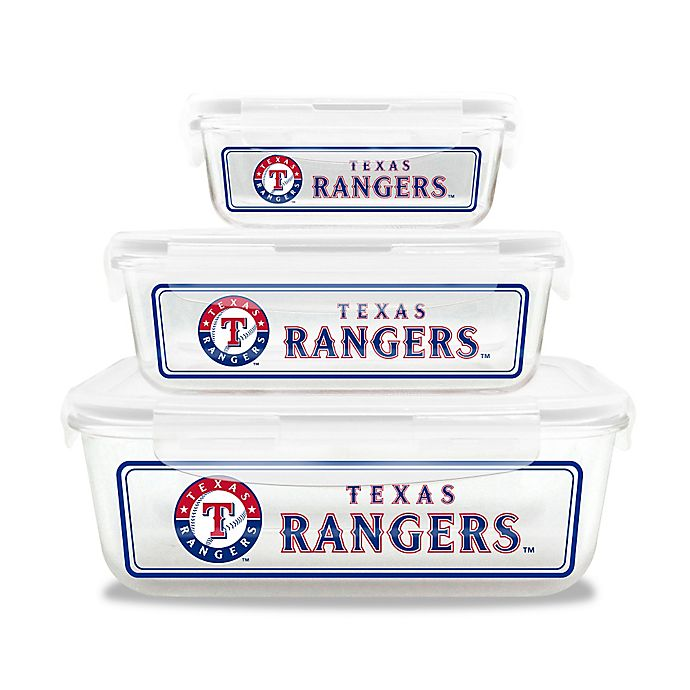 Alternate image 1 for MLB Texas Rangers 6-Piece Glass Food Container Set