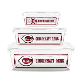 MLB Cincinnati Reds 6-Piece Glass Food Container Set
