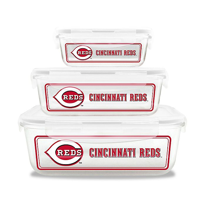 Alternate image 1 for MLB Cincinnati Reds 6-Piece Glass Food Container Set