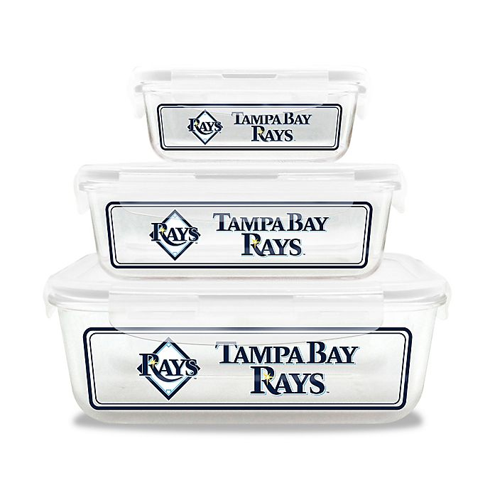 Alternate image 1 for MLB Tampa Bay Rays 6-Piece Glass Food Container Set