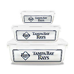 MLB Tampa Bay Rays 6-Piece Glass Food Container Set