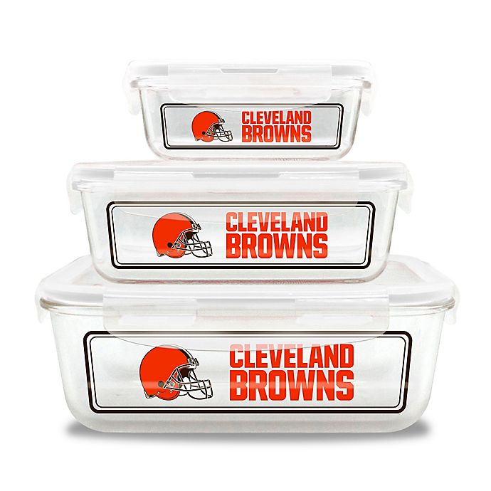 Alternate image 1 for NFL Cleveland Browns 6-Piece Glass Food Container Set