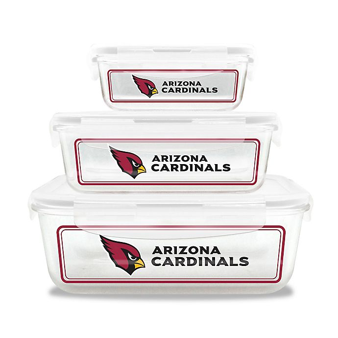 Alternate image 1 for NFL Arizona Cardinals 6-Piece Glass Food Container Set