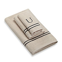 Avanti Monogram Block Letter Bath Towel in Ivory