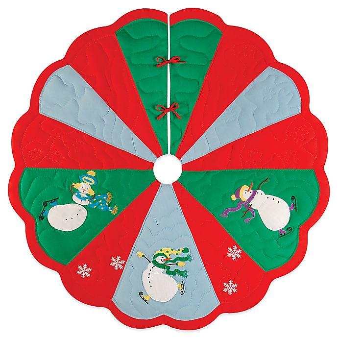 Alternate image 1 for Slip Sliding Snowmen 54-Inch Christmas Tree Skirt