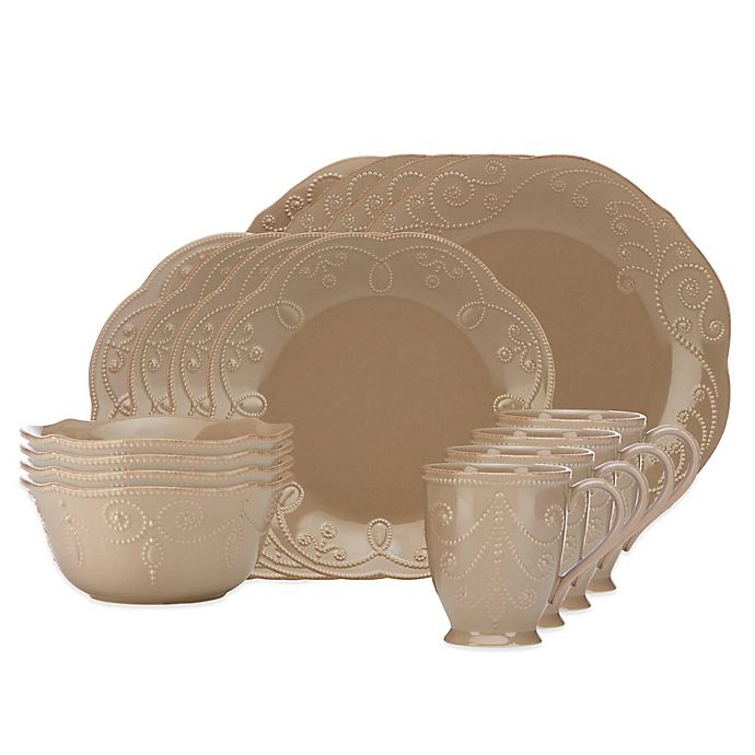 Alternate image 1 for Lenox® French Perle 16-Piece Dinnerware Set in Latte
