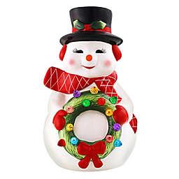 Mr. Christmas® 12-Inch Nostalgic Ceramic LED-Lit Snowman Figure in White