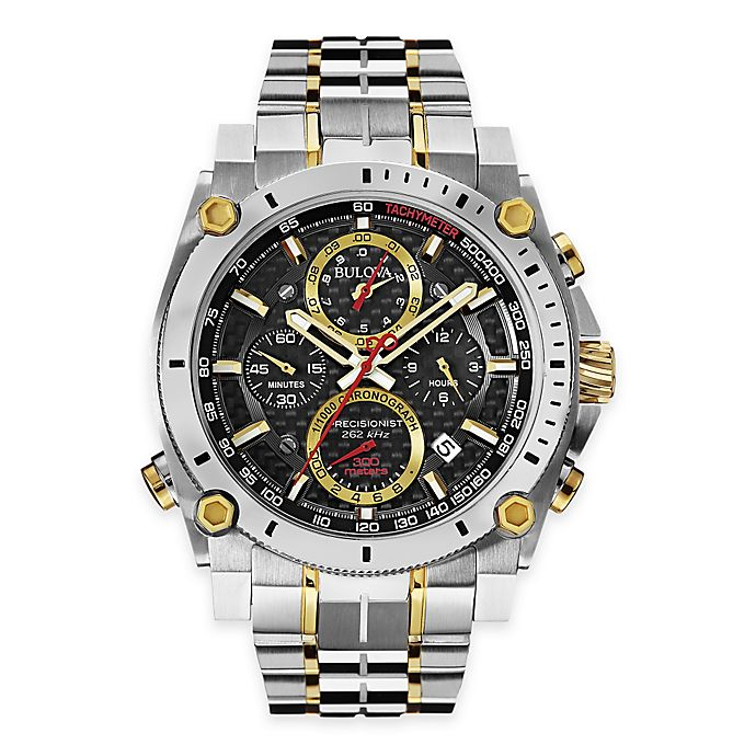Alternate image 1 for Bulova Men's 46.5mm Precisionist Chronograph Watch in Two-Tone Stainless Steel