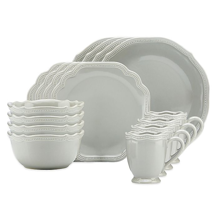Alternate image 1 for Lenox® French Perle Bead 16-Piece Dinnerware Set in Grey