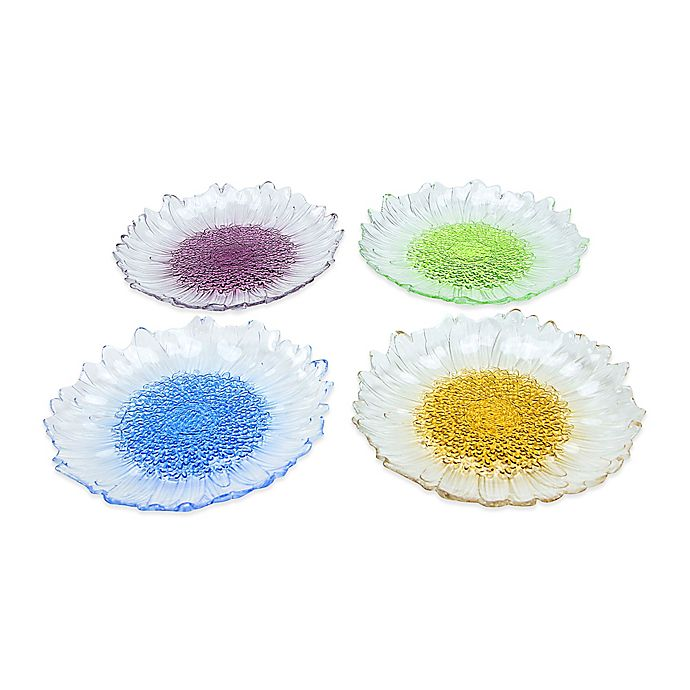 Alternate image 1 for Classic Touch Dessert Plates in Assorted Colors (Set of 4)