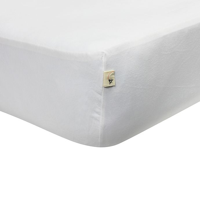 Alternate image 1 for Burt's Bees Baby® Organic Cotton Jersey Fitted Crib Sheet in Cloud