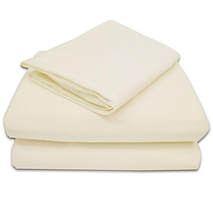 Alternate image 1 for TL Care® 100% Cotton Jersey 3-Piece Toddler Sheet Set in Ecru