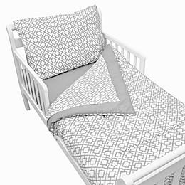 TL Care® 4-Piece Percale Toddler Bedding Set in Grey Lattice