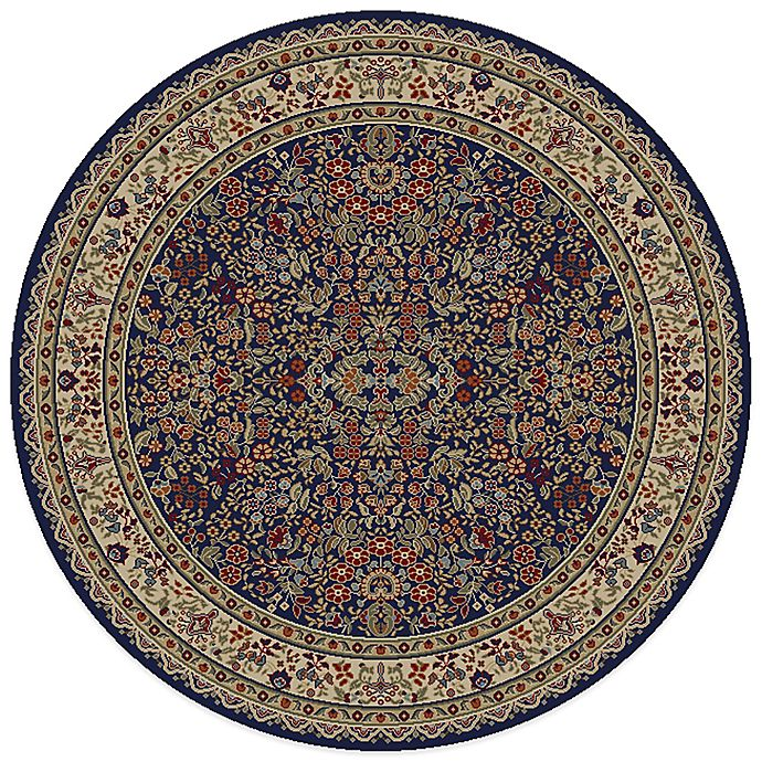 Alternate image 1 for Concord Trading Sarouk 5-Foot 3-Inch Round Rug in Navy