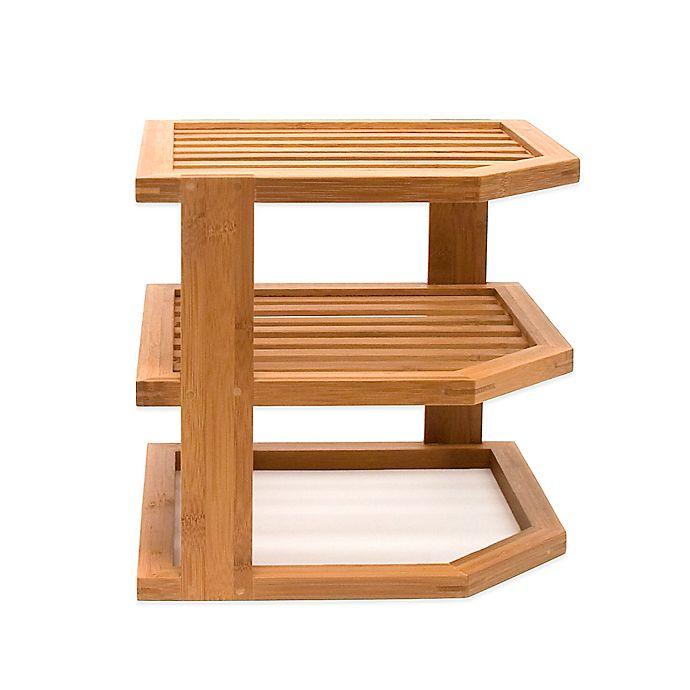 Alternate image 1 for Lipper 3-Tier Corner Bamboo Shelf