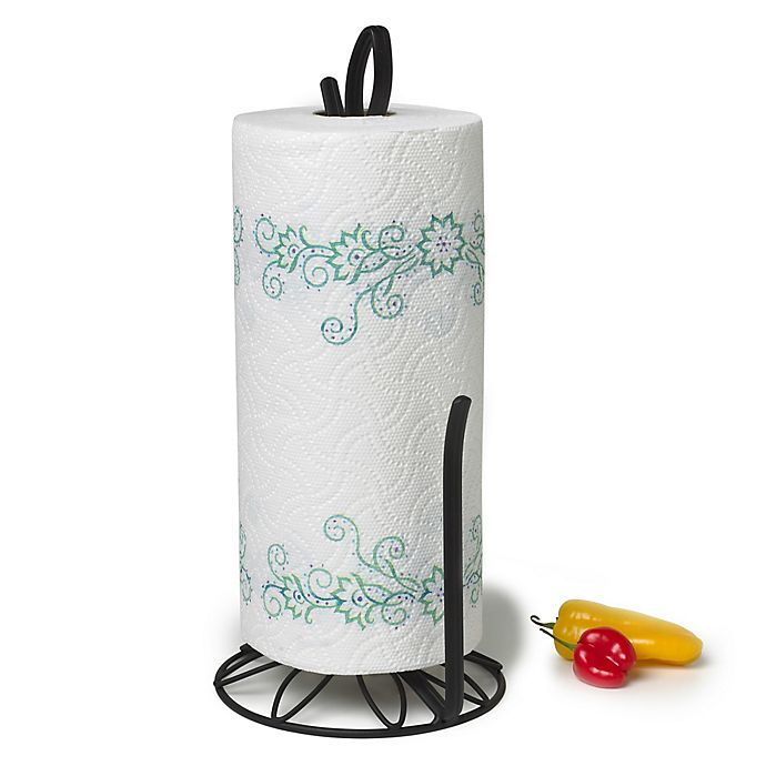 Alternate image 1 for Spectrum™ Leaf Paper Towel Holder in Black